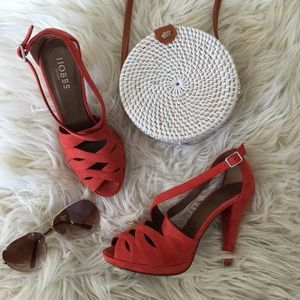 Hobbs London Strappy Suede Heel Red/Pink tone Sz 7